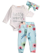 Outfits Set Baby Romper Floral Pants Headband 3Pcs Hello World Clothing Cotton Newborn Baby Girls Clothes