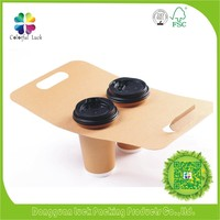Disposable Kraft Paper Take Out 2 Pack Coffee Cup Drink Carriers