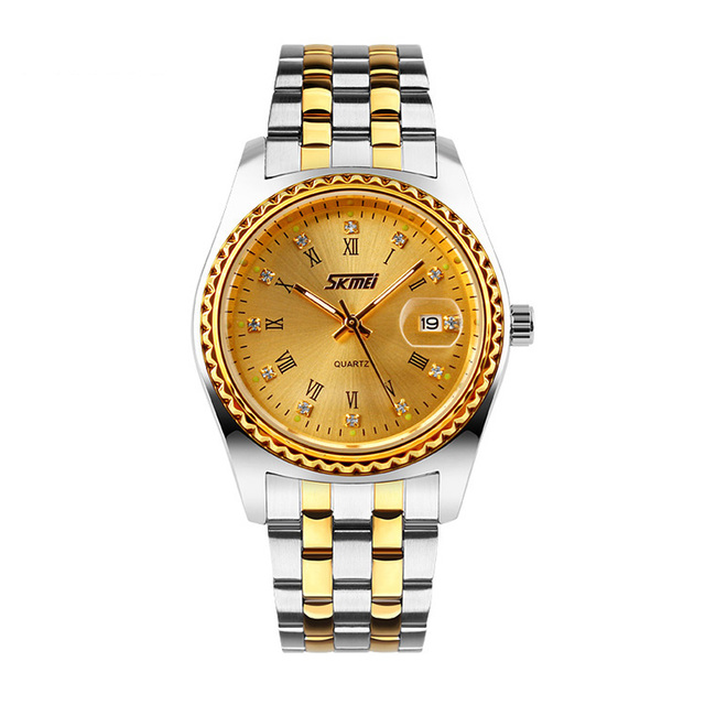 Gold mens watch stainless steel back quartz movt
