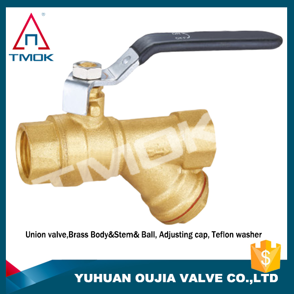 PN25 iron handle full port manual power stainless steel filter with brass ball valve PEX new design three way flow control water