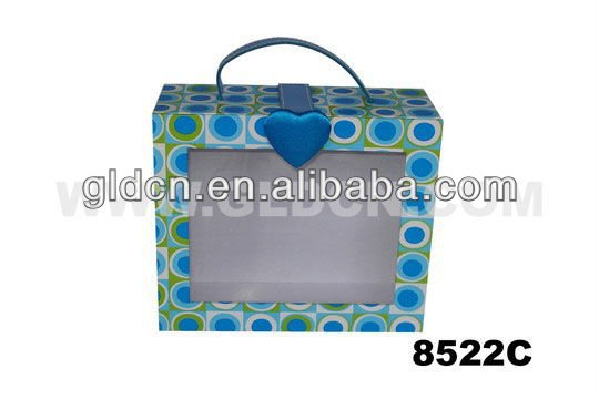 Wholesale blue paper gift box with clear PVC window/handle/clasp from China supplier