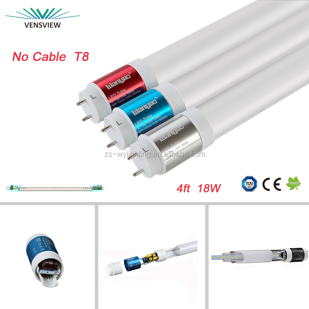 high efficiency 4000K -6500k 18w T8 1200mm 4ft led tube light 3 years warranty