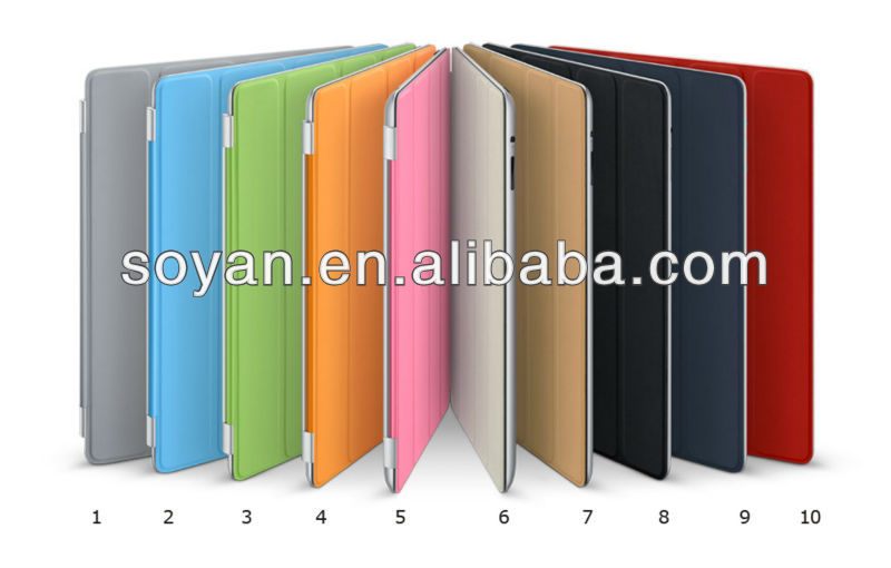 Trendy and Personality!!! Smart and Colorful Four Fold Leather cases for IPad 2/3/4/5 with sleep function