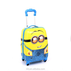 2016 new arrival cute monions and factory cheap kids luggage with pc abs material