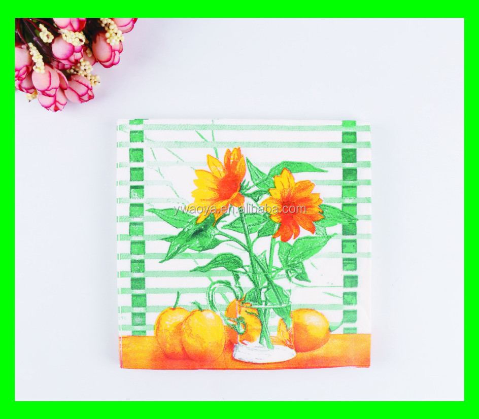 dinner paper napkins with flower printing