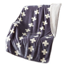 Plaid Soft Double Face Throw Polyester Coral Fleece Blanket