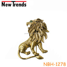 China wholesale fashion alloy retro lion brooch for clothes deco