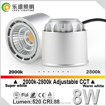 Hot selling in Norway !Norge dimmable 8w cob downlight 2700k 2000-2800K 88Ra Silver and White aption