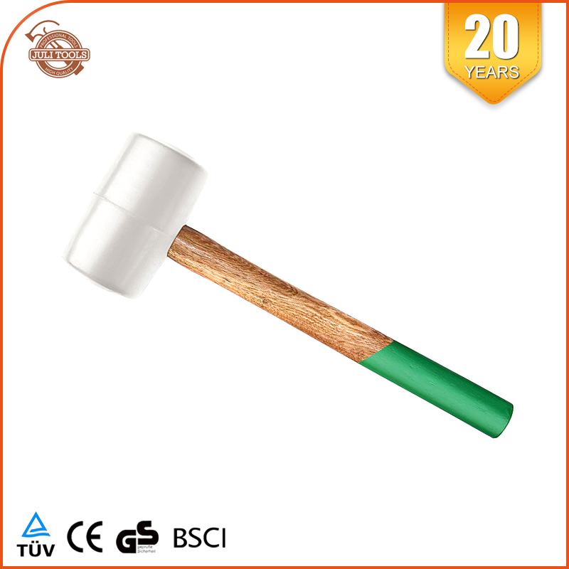 High Quality Wooden Handle White Rubber Mallet Hammer