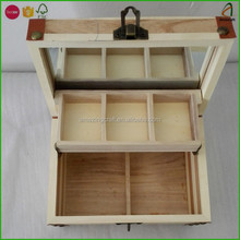 Wood Cosmetic Storage Box Organiser Holder with Mirror Make Up Case