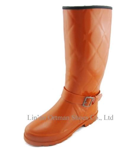 factory price jelly color rubber women clear rain wellies wellington boot with warm lining