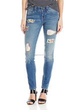 Women's Mid Rise Skinny with Embroidery Patch Cropped Denim Pents Latest Jeans Tops Girls