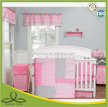Baby Girl Pink Gray Modern Contemporary Geometric Crib Nursery Quilt Bedding Set