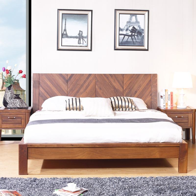 2017 comfortable wooden king & queen bed furniture