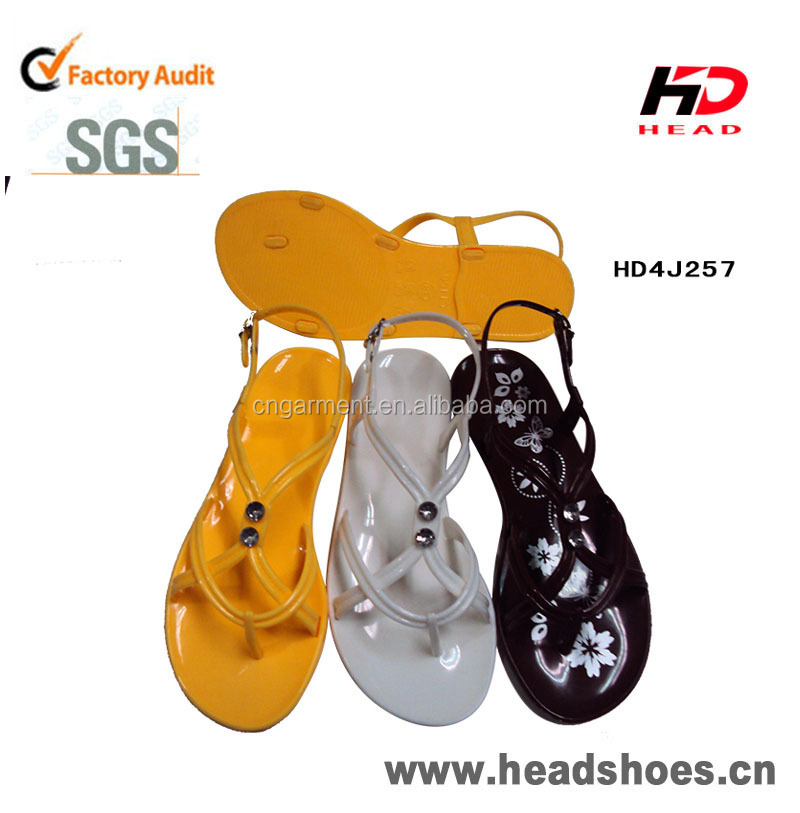 Lady Summer Flat PVC Crystal Sandal beach walk sandal 2015
