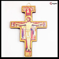 Big wood wall cross catholic pendant