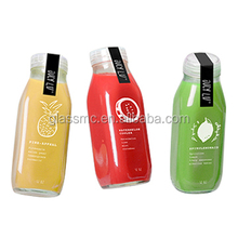 Fresh Juice Square Glass Bottle with Tamper evident cap