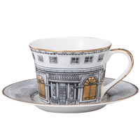 Swan Fort Classic coffee mug hand paint gold rim cup sets espresso cup and saucer Phnom Penh Cup and Dish of Urban Architecture