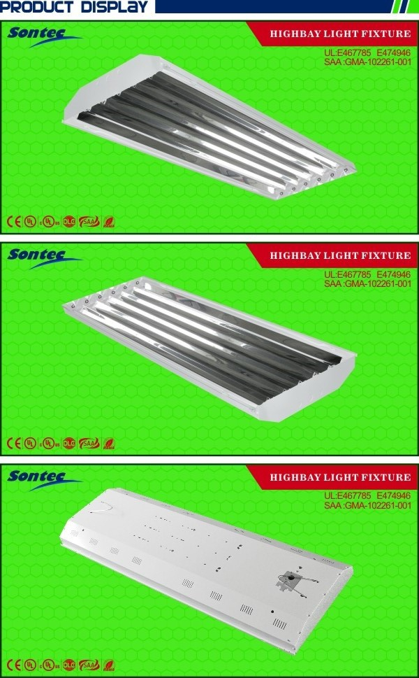 New High Low Bay T8 6 Lamp Fluorescent Lighting Fixtures For Shops Garages