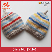 F-1161 hand wool knitted baby striped hats soft and warm newborn hat