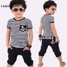 Free shipping New 2016 summer clothing sets kids pants + Top Navy Stripe kid clothes children tracksuit