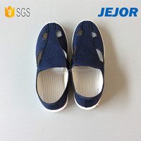 Stripe Antistatic Cloth Navy Blue Unisex Industrial Safety Canvas Shoes