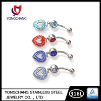 316L stainless steel fashion dangle love heart crystal navel belly rings body piercing