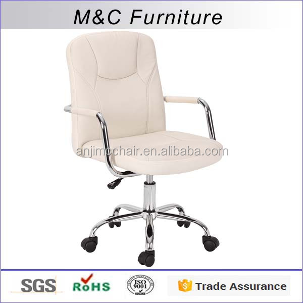 High quality reinforcecd white PU leather rotate office chair