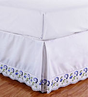 Polycotton T/C lace bed skirt ,Embroidery bed cover design