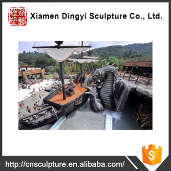 Dinosaur sculpture water theme garden amusement park with Cement