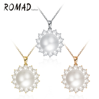 Nice Women Plastic Bead Sunflower Pendant Necklace 18K Gold/Rose Gold/White Gold Plated Jewelry