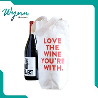 high-end wholesale cotton fabric drawstring red wine bag
