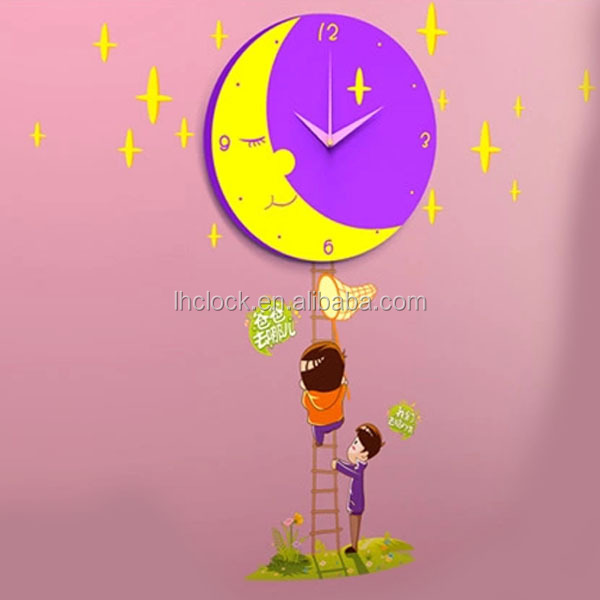 cartoon glass wall clock