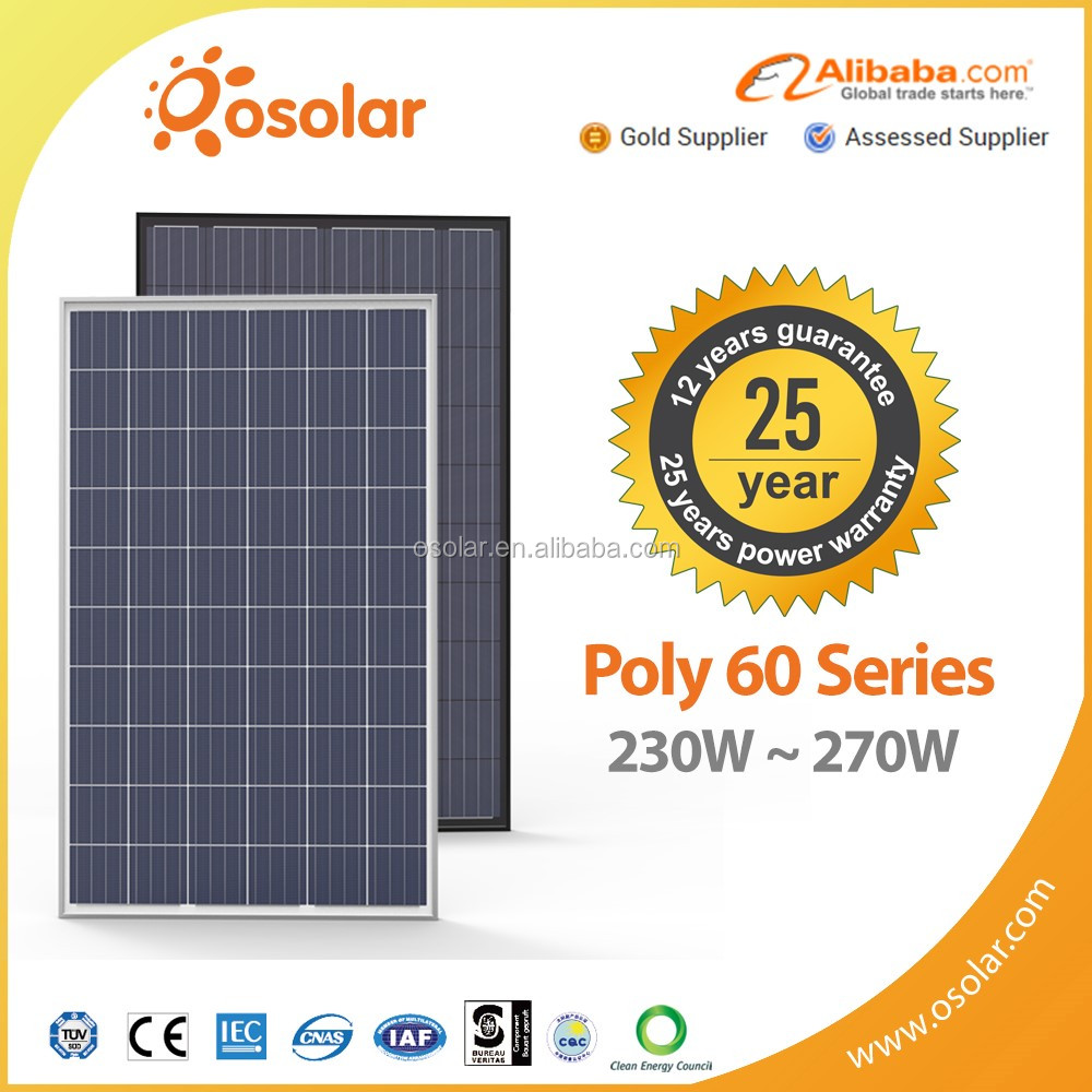Osolar high quality best price 250w 260w 270w solar power panels solar panel kits for home grid system