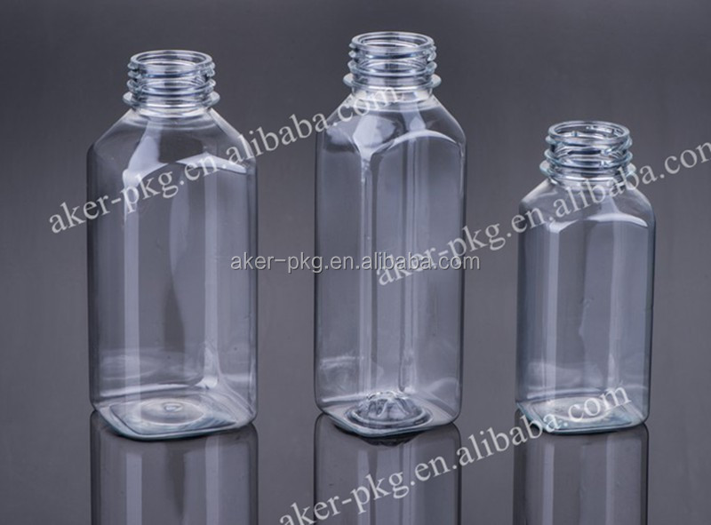 Wholesale Hot Filling Square Plastic Clear Juice Bottle with Food Grade/BPA Free
