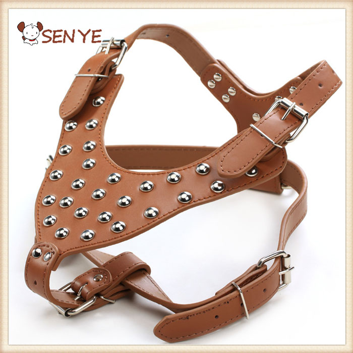 Spikes Studded No Pull Service Pet Leather Vest Dog Harness