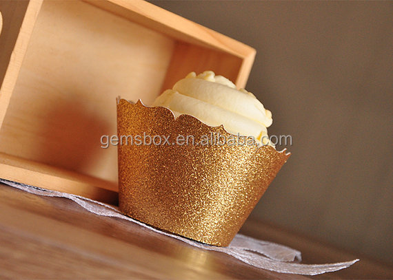 Gold Silver brzone pink Glitter Cupcake Wrappers