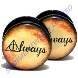 Potter Deathly Hallows Acrylic Ear Plugs Screw Fit Ear Gauges Flesh Tunnels Double Flared Piercing Body Jewelry