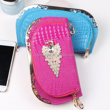 Custom PU leather trend brand wallet ladies and zipper ladies purse clutch phone wallet