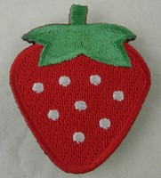 New design for clothing bag laser cut 100% felt embroidered strawberry magic embroidery magnet on patch