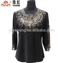 Factory direct silvery black sequin cotton formal skirt and blouse
