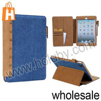 South Korea Jeans Pattern Folio Stand PU Leather Case Cover for Retina iPad Mini with Card+Pen Slots (5 Designs Optional)