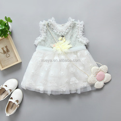 2017 Wholesale fashion cute vest dress baby girl flower fancy dress competition