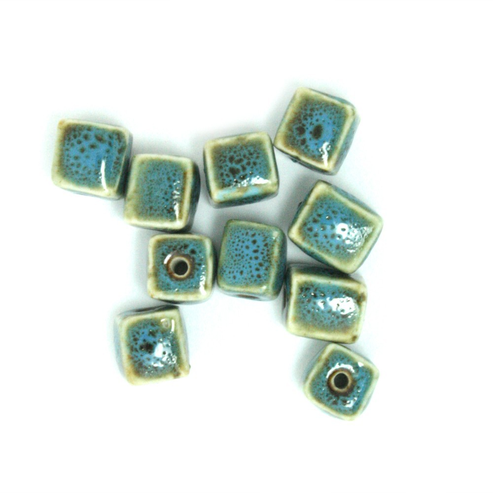 Wholesale 150pcs/lot 10*10mm Blue Cube Ceramic Porcelain Beads For Bracelet DH-CF088-FS008