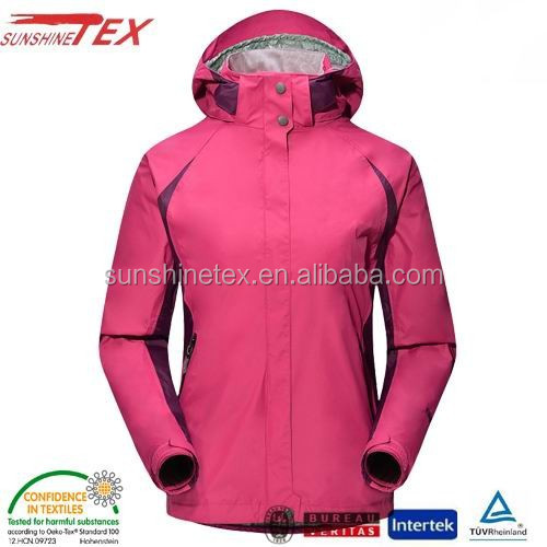Nylon drawstring waist hooded jackets with hood