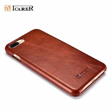 ICARER New Fashion Genuine Real Leather Back Cover Phone Case for iPhone 7 7plus