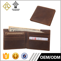 Custom Top grain leather RFID Blocking Bifold Slim Genuine Leather Front Pocket Men's Brown Wallet