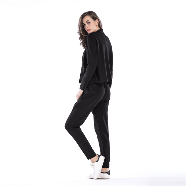 OEM ODM Custom Fall Solid Color Long Sleeve Short Jacket Trousers Sexy Two Piece Pants Set Women Clothing