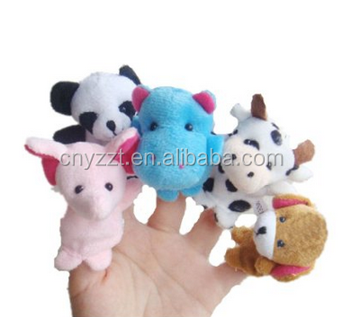 free sample kids finger puppets Soft Toy/animal plush finger puppets in couples