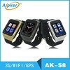 Aipker high quality Android4.4 3G wifi bluetooth mobile watch phone S8 with 5.0MP camera